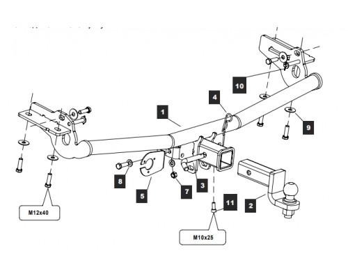 Фаркоп Baltex для Ford Explorer 2011-