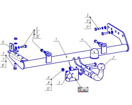 Фаркоп Bosal 1241-A для Lada Granta седан, лифтбек 2011- / Granta FL седан, лифтбек, универсал 2018-
