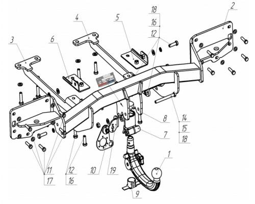 Фаркоп Bosal 7355-AK41 быстросъемный для Land Rover Range Rover IV 2012-