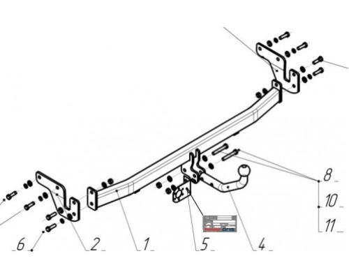 Фаркоп Bosal 4260-А для Hyundai Solaris седан/хэтчбек 2010-2017