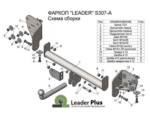 Фаркоп Лидер-плюс для Subaru Outback 2009-2014