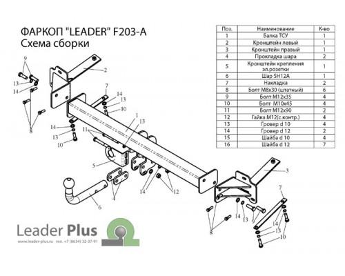Фаркоп Лидер-плюс для Fiat Doblo 2001-2010
