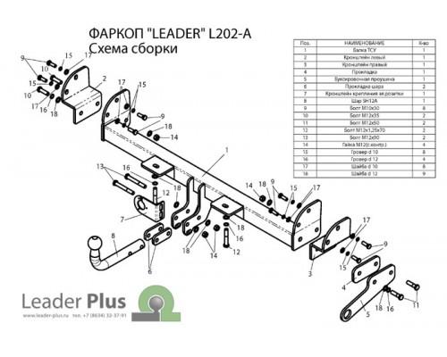 Фаркоп Лидер-плюс для Land Rover Freelander 1998-2006