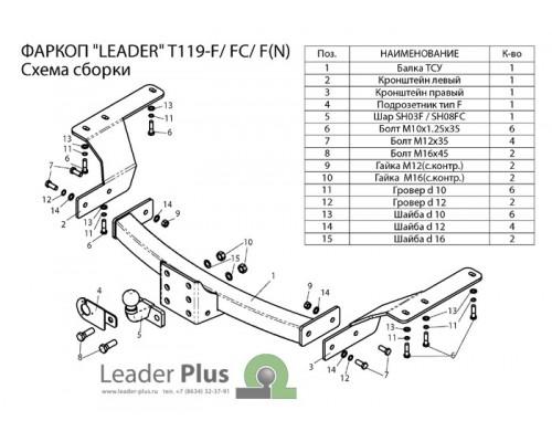 Фаркоп Лидер-плюс для Toyota Highlander 2010-2013