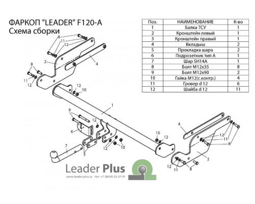 Фаркоп Лидер-плюс для Ford Kuga 2013-