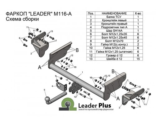 Фаркоп Лидер-плюс для Mitsubishi L200 2007-2015 (включая удлинённую базу)
