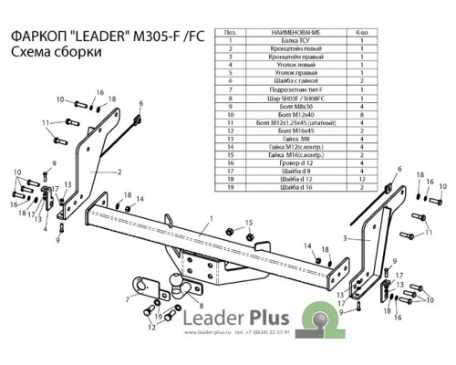 Фаркоп Лидер-плюс для Mazda BT-50 2006-2012