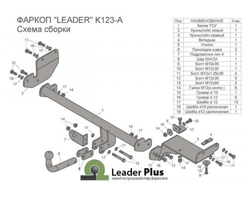 Фаркоп Лидер-плюс для Kia Rio X-line 2017-