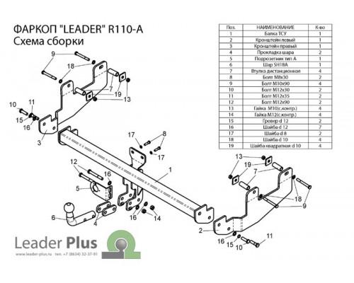 Фаркоп Лидер-плюс для Renault Sandero Stepway 2008-2014