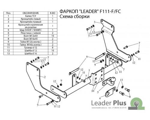 Фаркоп Лидер-плюс для Ford Tourneo Connect 2002-
