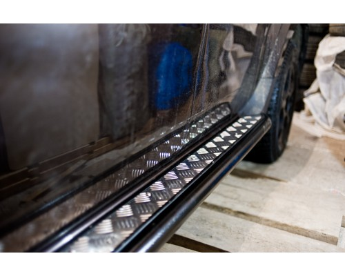 """Защита порогов ПТ Групп """"Эстонец"""" (сталь ППК) с алюмин. площ. для Nissan Terrano 2014-"""