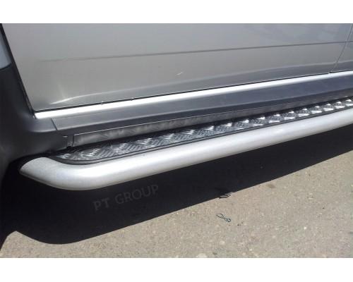 Защита порогов ПТ Групп (сталь ППК) с алюмин. площ. для Nissan Terrano 2014-
