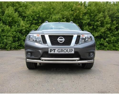 Защита переднего бампера ПТ Групп двойная D63/51 (НПС) для Nissan Terrano 2014-