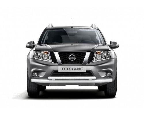 Защита переднего бампера ПТ Групп двойная D63/51 (сталь ППК) для Nissan Terrano 2014-