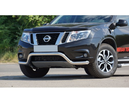 """Защита переднего бампера ПТ Групп """"Волна"""" D63 (НПС) для Nissan Terrano 2014-"""