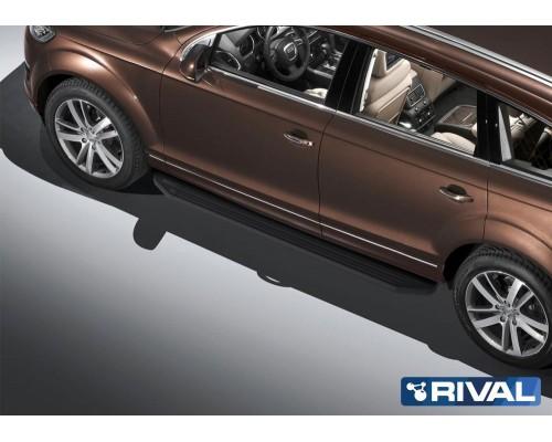 "Пороги алюминиевые Rival ""Premium-Black"" для Audi Q7 2009-2015"
