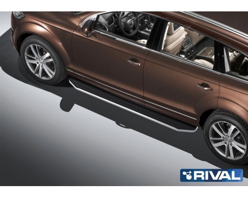 """Пороги алюминиевые Rival """"Premium"""" для Audi Q7 2009-2015"""