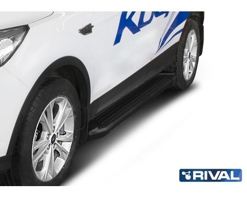 "Пороги алюминиевые Rival ""Black"" для Ford Kuga 2013-"
