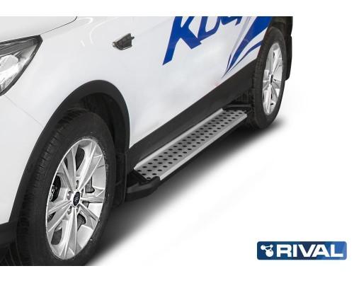 """Пороги алюминиевые Rival """"Bmw-style"""" для Ford Kuga 2013-"""
