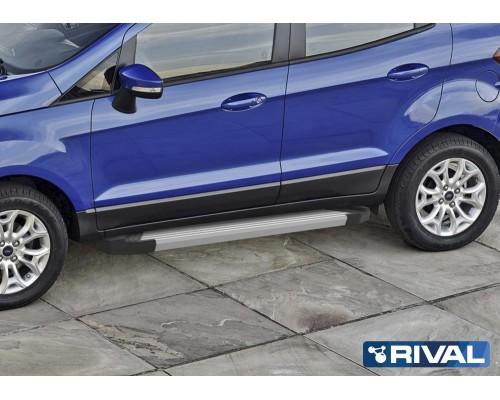 """Пороги алюминиевые Rival """"Silver"""" для Ford Ecosport 2014-"""