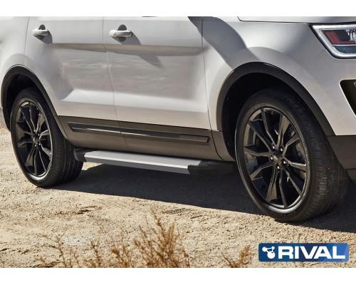 """Пороги алюминиевые Rival """"Silver"""" для Ford Explorer 2011-2015/2015-"""