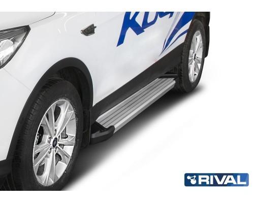 "Пороги алюминиевые Rival ""Silver"" для Ford Kuga 2013-"
