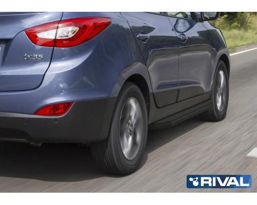"""Пороги алюминиевые Rival """"Black"""" для Hyundai IX35 / Kia Sportage 2010-2015"""