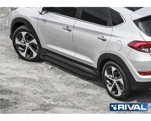 """Пороги алюминиевые Rival """"Black"""" для Hyundai Tucson 2015- / Kia Sportage 2016-"""