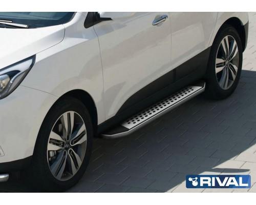 "Пороги алюминиевые Rival ""Premium Bmw-style"" для Hyundai IX35 / Kia Sportage 2010-2015"