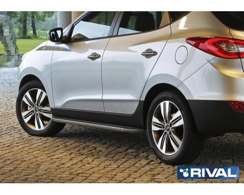 "Пороги алюминиевые Rival ""Premium"" для Hyundai IX35 / Kia Sportage 2010-2015"