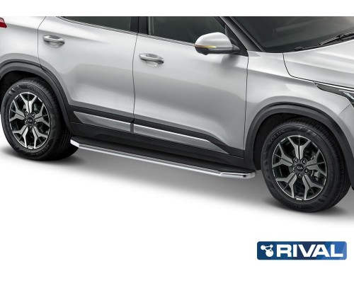 "Пороги алюминиевые Rival ""Premium"" для Kia Seltos / Kia Soul 2019-"