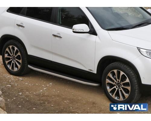 "Пороги алюминиевые Rival ""Premium"" для Kia Sorento 2012-"