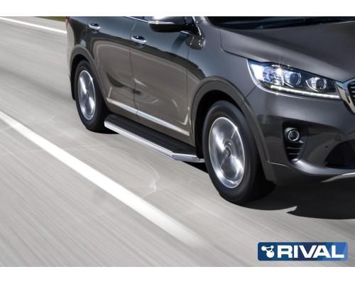 "Пороги алюминиевые Rival ""Premium"" для Kia Sorento Prime 2018-"