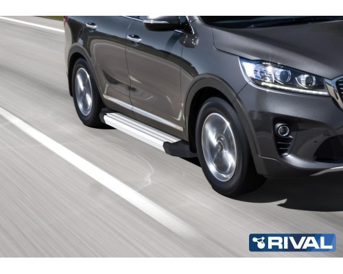 "Пороги алюминиевые Rival ""Silver"" для Kia Sorento Prime 2018-"
