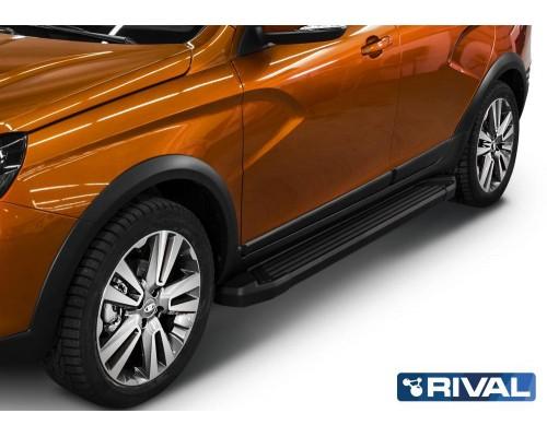 """Пороги алюминиевые Rival """"Black"""" для Lada Vesta SW Cross 2017-"""
