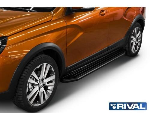 """Пороги алюминиевые Rival """"Premium-Black"""" для Lada Vesta SW Cross 2017-"""