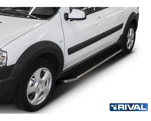 """Пороги алюминиевые Rival """"Premium"""" для Lada Largus"""