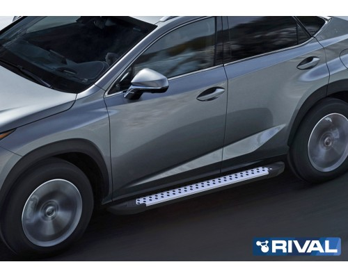 """Пороги алюминиевые Rival """"Bmw-style"""" для Lexus NX 2014-2017"""
