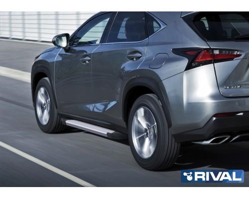"Пороги алюминиевые Rival ""Silver"" для Lexus NX 2014-2017"