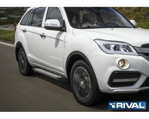 """Пороги алюминиевые Rival """"Silver"""" для Lifan X60 2016-"""