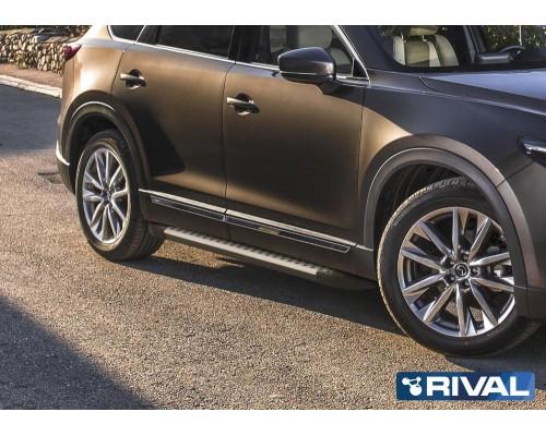 "Пороги алюминиевые Rival ""Bmw-style"" для Mazda CX-9 2017-"