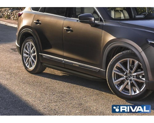 "Пороги алюминиевые Rival ""Premium-Black"" для Mazda CX-9 2017-"
