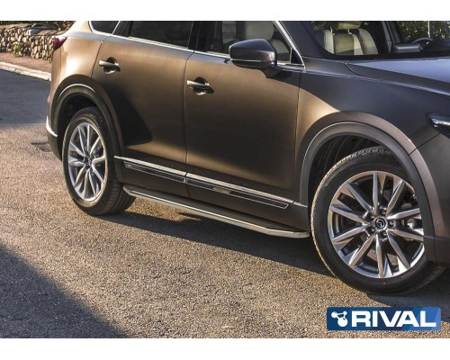 """Пороги алюминиевые Rival """"Premium"""" для Mazda CX-9 2017-"""
