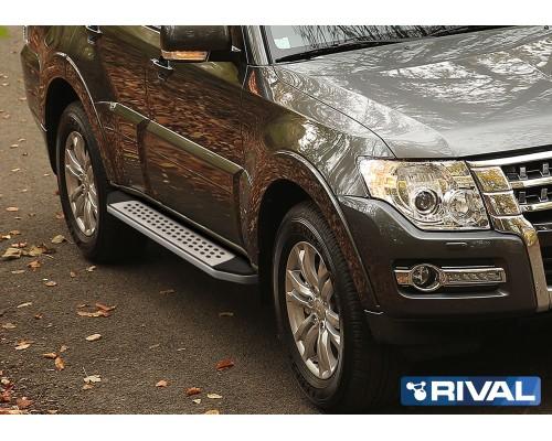 "Пороги алюминиевые Rival ""Bmw-style"" для Mitsubishi Pajero IV 2006-"