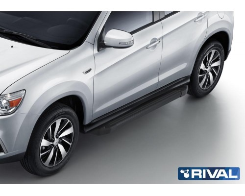 "Пороги алюминиевые Rival ""Black"" для Mitsubishi ASX 2010-2015/ 2017-"
