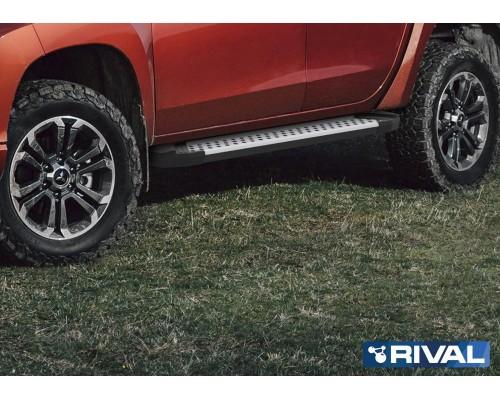 "Пороги алюминиевые Rival ""Bmw-style"" для Mitsubishi L200 2006-2015/ 2015-"