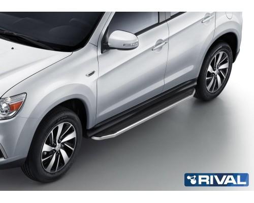 "Пороги алюминиевые Rival ""Premium"" для Mitsubishi ASX 2010-2015/ 2017-"