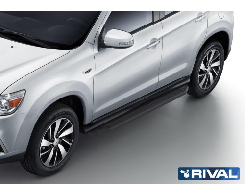 "Пороги алюминиевые Rival ""Premium-Black"" для Mitsubishi ASX 2010-2015/ 2017-"