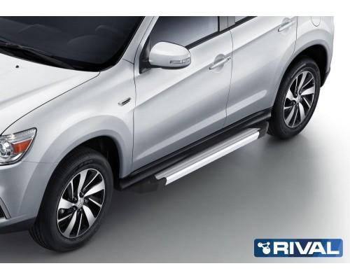 "Пороги алюминиевые Rival ""Silver"" для Mitsubishi ASX 2010-2015/ 2017-"