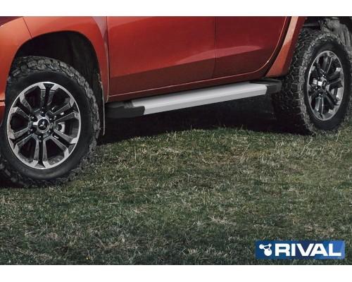 "Пороги алюминиевые Rival ""Silver"" для Mitsubishi L200 2006-2015/ 2015-"